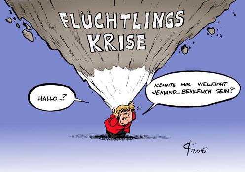 EU-Gipfel: Europa uneins über Flüchtlingspolitik  (Politische Karikatur vom 17.0 - (Cartoon, pb, politischeBildung)