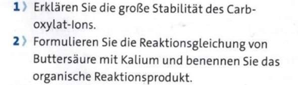 Kann mir jemand die Reaktionsgleichung von Buttersäure (Butansäure) mit Kalium nennen?
