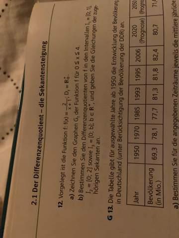 Kann mir jemand diese Aufgabe zum Differenzenquotienten erklären?