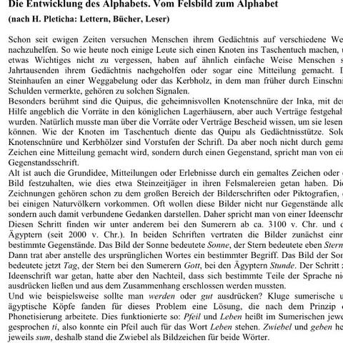 Text der Fragen  - (deutsch, Bilder, Aufsatz)