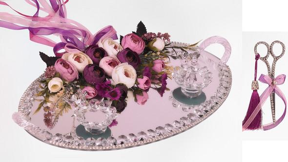 Kann mir jemand erklären wozu dieses Tablett & Schere an türkischen Hochzeiten benutzt wird und ob der Spiegel eine tiefere Bedeutung hat?