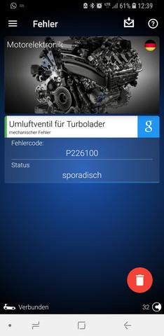 Kann mir jemand mit dem Fehlercode P226100 mechanischer Fehler Schubumluftventil weiterhelfen (Audi A5 2.0 TFSI) (GFB DV+)?
