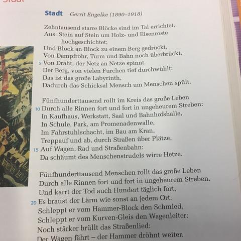 """Kann mir jemand sagen warum das Gedicht """"Stadt"""" von Gerrit Engelke ein expressionistisches Gedicht ist?"""