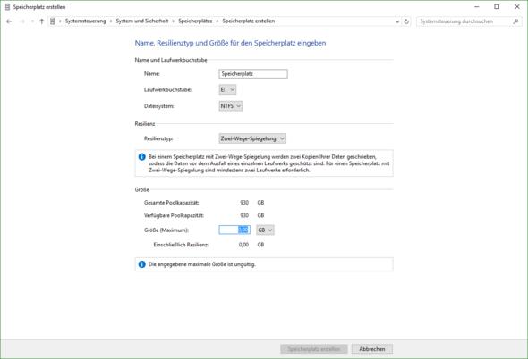 Screenshot aus der Systemsteuerung für 1TB HDD - (Festplatte, hdd)