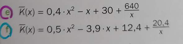 Kann mir jemany in Mathe helfen (Thema Kostenfunktion)?