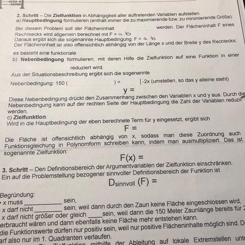 Kann mir jmd bei extremwertprobleme helfen? (Schule, Mathe, extremwert)