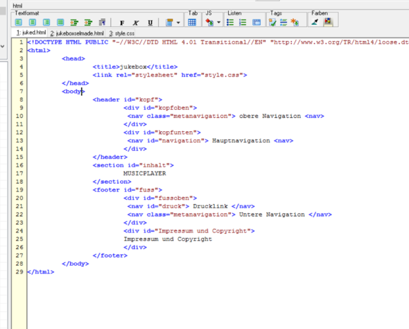 hier - (html, CSS)