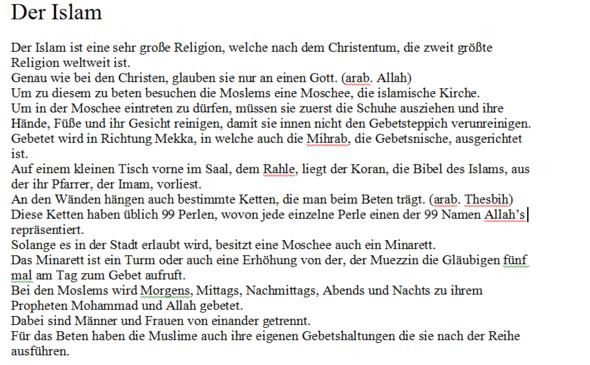 Erster Teil des Textes - (Religion, Text, Islam)