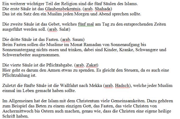 Zweiter Teil des Textes - (Religion, Text, Islam)