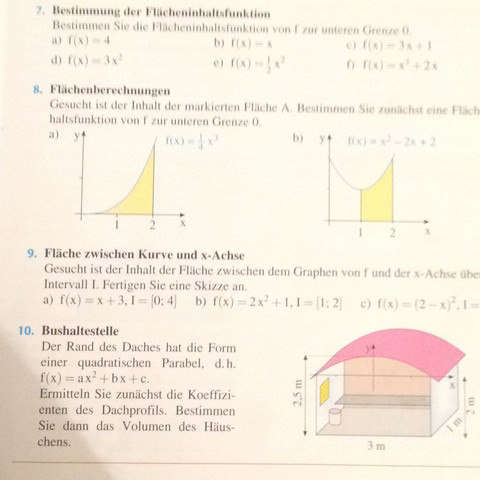 Kann mit einer Bei Flächeninhalten helfen? (Mathe, Mathematik, Integral)