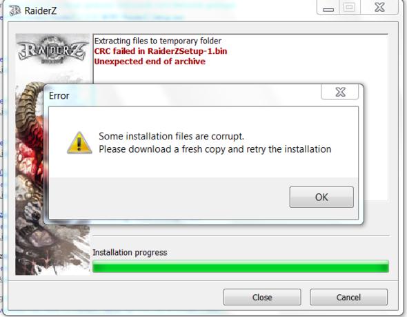 Dieser error - (Installation, RaiderZ)