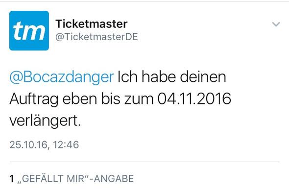 Antwort von Ticketmaster - (Freizeit, Geld, Hobby)