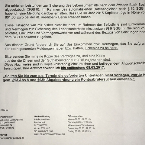 Brief - (Anwalt, Jobcenter, Hartz4)