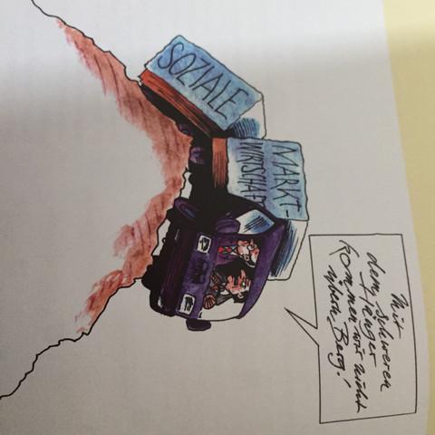 """In der Sprechblase steht """" Mit dem schweren Hänger kommen wir nicht übern Berg""""  - (Schule, Klausur, Karikatur)"""
