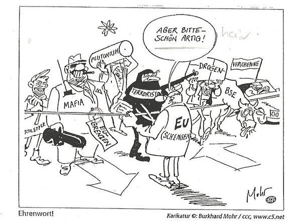 "Karikatur ""Ehrenwort!"" von Burkhard Mohr - (Politik, Karikatur)"