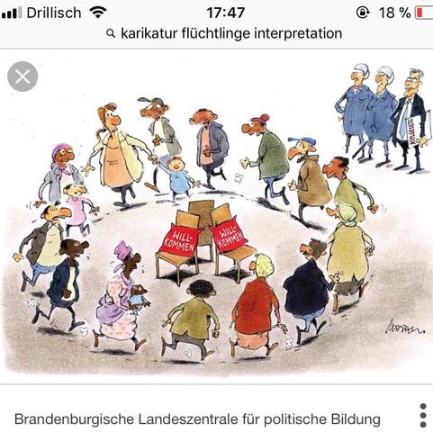 Karikatur Interpretation Analyse Flüchtlingswelle Willkommenskultur