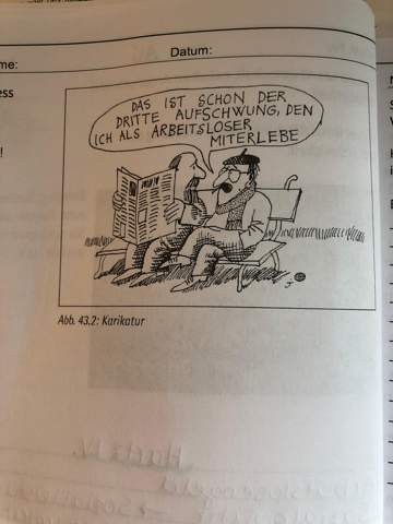 Karikatur interpretieren über Arbeitslosigkeit?