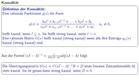 Kausalität von Übertragungsfunktion und Übertragungsmatrix-wie ist das hier gemeint?