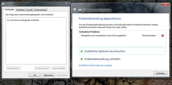 links anscheinen keine vorhandenen Wiedergabegeräte, Rechts die Problembehebung - (Computer, Windows, Windows 7)