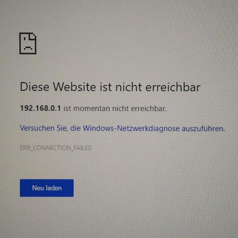 Die Adresse ist die meines Routers. Meldung sieht aber überall gleich aus. - (Computer, Internet, Windows)