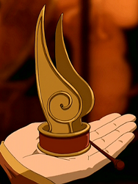 """Beispiel aus """"Die Legende von Aang"""" (sowas meine ich, halt nicht als Flamme) - (Frisur, chinesisch, Kopfbedeckung)"""