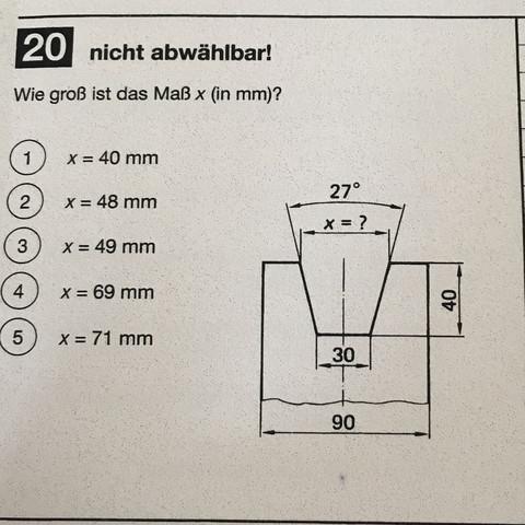 Prüfungsaufgabe. Richtig ist Lösung 3. - (Mathe, Prüfung, Geometrie)
