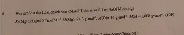 Kennt jemand einen Ansatz für diese Aufgabe zur Löslichkeit?