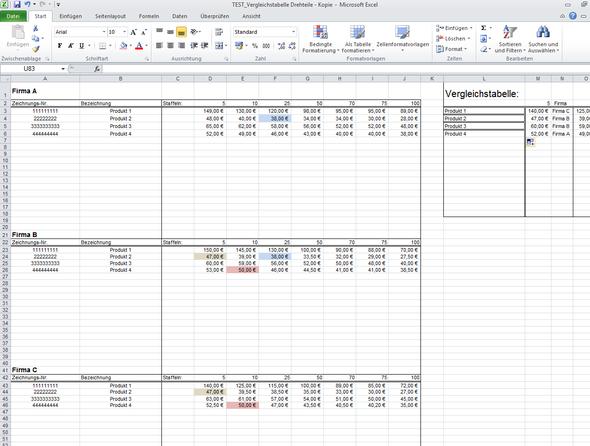 in die linken tabellen werden die Preise eingetragen - (Excel, Formel, Tabelle)