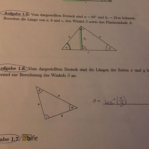 1.5 Aufgabe - (Mathe, Mathematik, Trigonometrie)