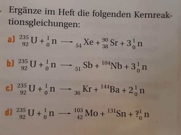 Kernreaktionsgleichungen?