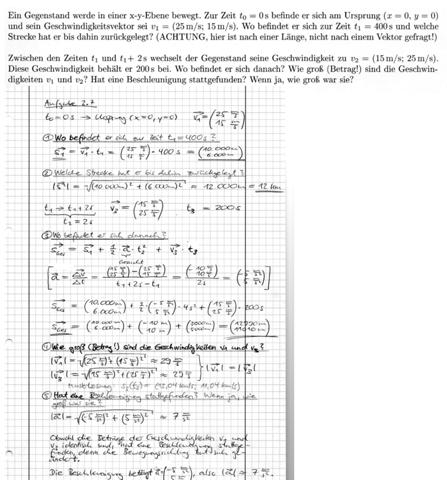 Kinematik: Gleichförmige und gleichmäßig beschleunigte Bewegung in einem kartesischen Koordinatensystem -> Rechnen mit Vektoren - Fehler?