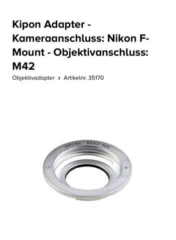 Kipon M42 Objektiv an Nikon F?