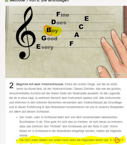 B und H sind makiert - (Musik, Noten, Internetseite)