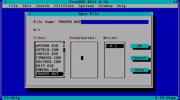FreeDOS edit user interface - (programmieren, Programmierung)
