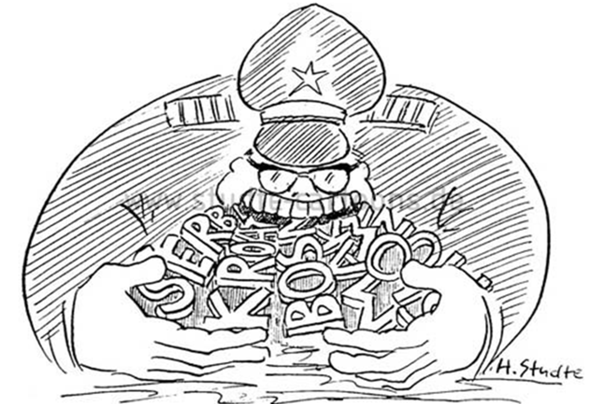 Könnt ihr mir sagen wie ich Tito in der Karikatur interpretieren soll?