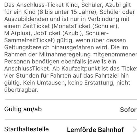 Könnte ich mit einem Anschlussticket von Lemförde nach Osnabrück fahren?