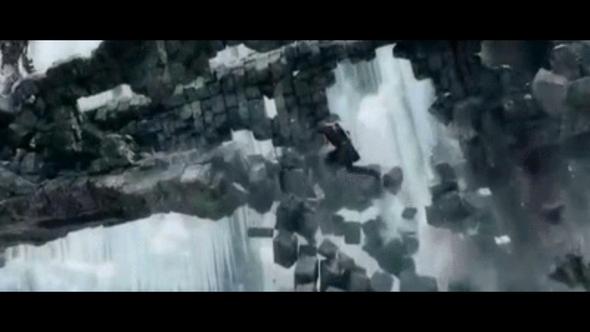 Legolas stößt sich von fallenden Felsen ab in 'Der Hobbit' - (Physik, Naturwissenschaft)