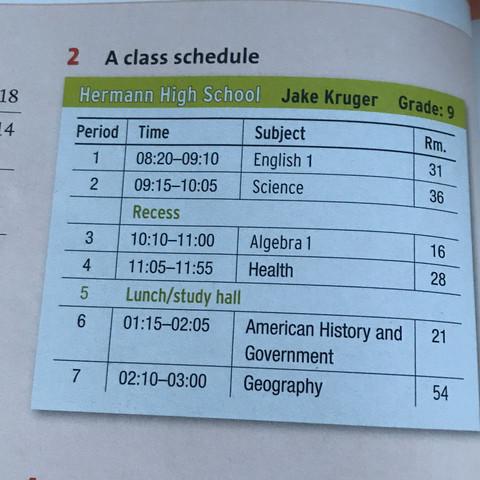 Class schedule - (Schule, englisch, Deutschland)
