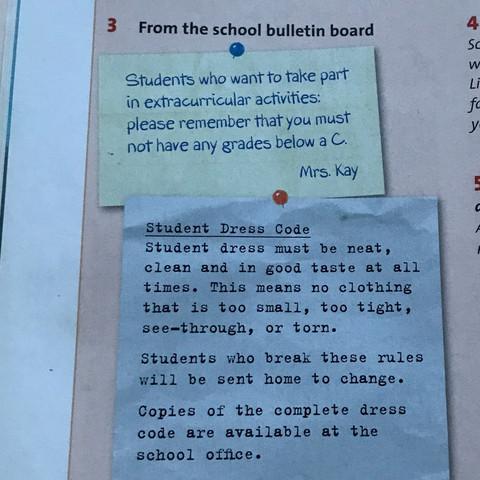 bulletin board - (Schule, englisch, Deutschland)