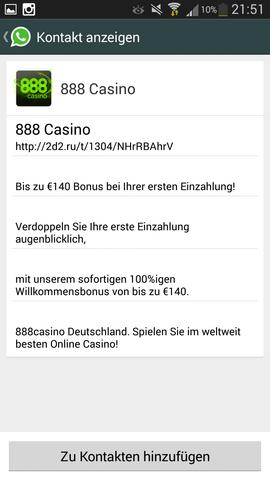 whatsapp spam casino 888