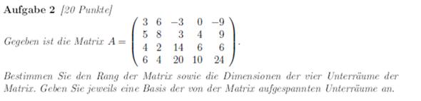 Komme bei dieser Aufgabe nicht weiter (Matrix)?