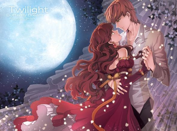junge ( blond) mit mädchen ( braun) im roten kleid - (Freizeit, Mädchen, Anime)