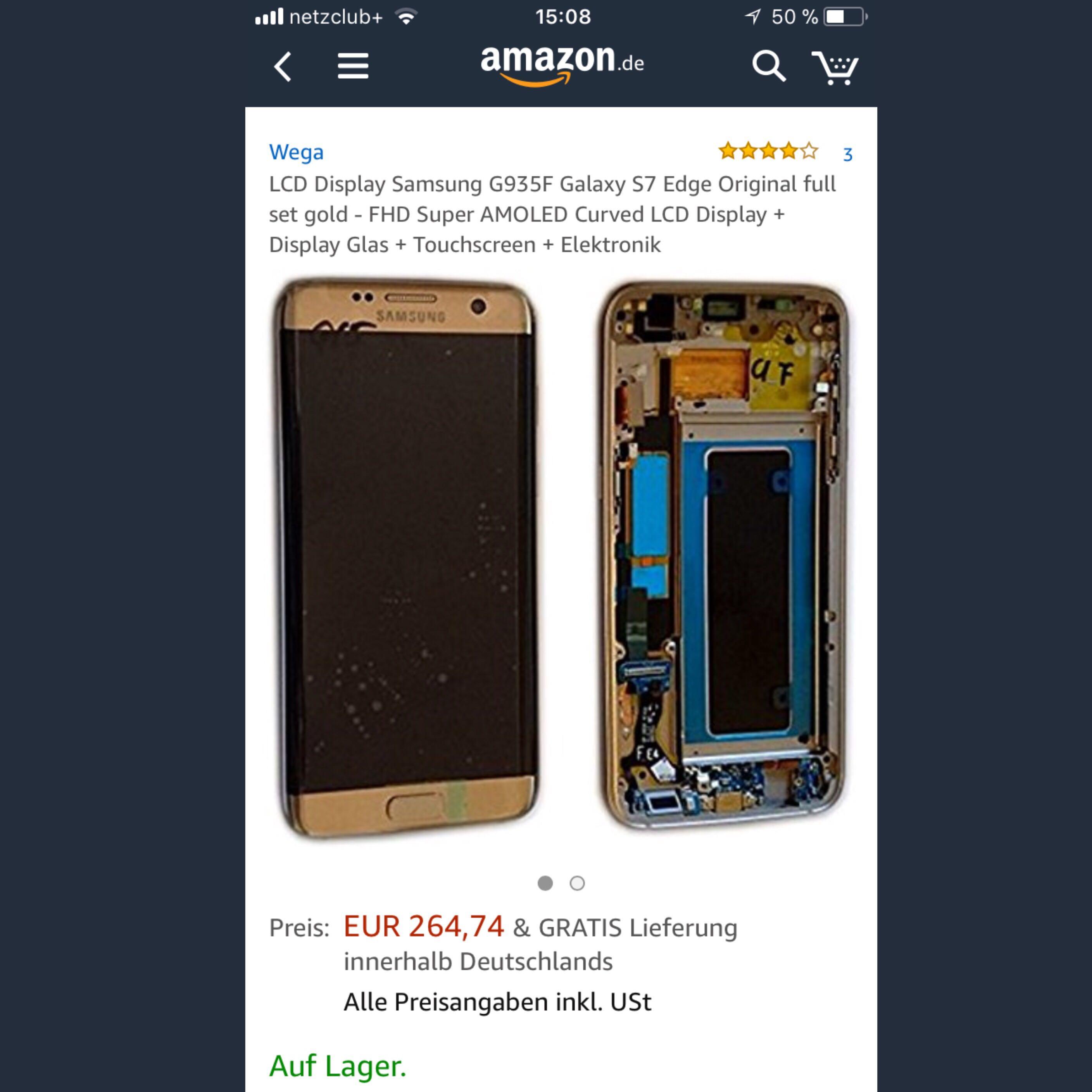 Komplettes Galaxy S7 Edge Selbst Zusammenbauen Handy Technik Apple Lcd Touchscreen Samsung Gold Original
