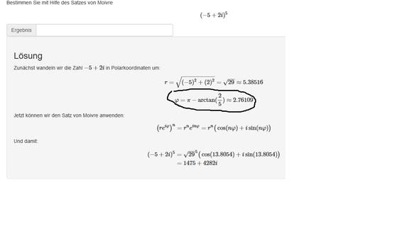 Komplexe Zahlen Satz von Moivre und Komplexe Zahlen? (Computer ...