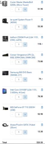 Komponenten gut gewählt für einen Office PC?