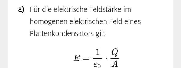 Kondensator und die elektrische Feldstärke?