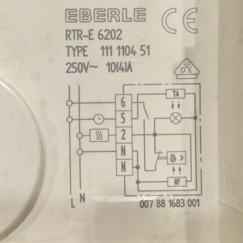 Schaltplan im Thermostat - (Elektrik, Raumthermostat, Eberle)