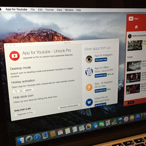 Links unten ist der Betrag von  4 CHF - (Youtube, iPhone, Apple)