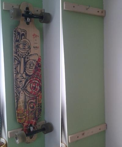 Longboard-Wandhalterung (mit und mit ohne Board) - (longboard, Wandhalter)
