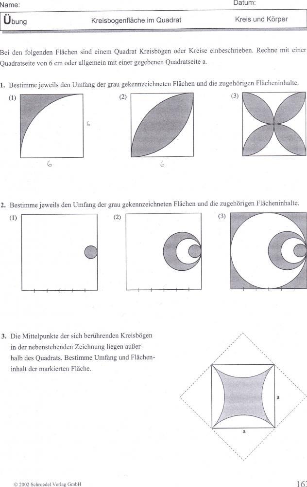 kreisbogenfl che im quadrat mathe mathematik kreis. Black Bedroom Furniture Sets. Home Design Ideas